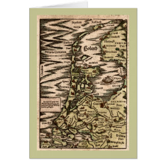 """""""Holand"""" - 1598 Hand Colored Woodblock Holland Map Card"""