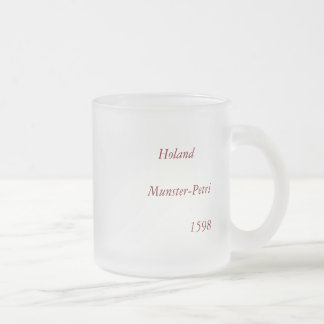 """""""Holand"""" - 1598 Hand Colored Woodblock Holland Map Frosted Glass Coffee Mug"""