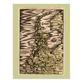 """Holand"" - 1598 Hand Colored Woodblock Holland Map Post Card"