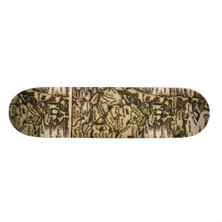 """Holand"" - 1598 Hand Colored Woodblock Holland Map Skateboard"