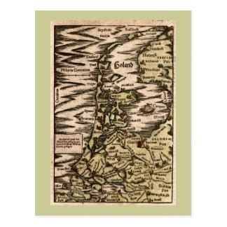 """""""Holand"""" - mapa coloreado 1598 manos de Woodblock Postal"""