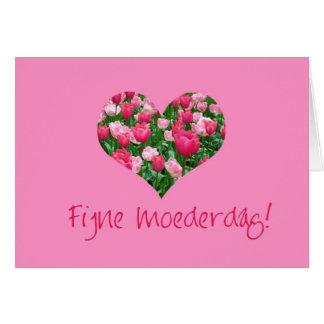 holandés de la tarjeta de los corazones del tulipá