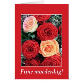 holandés del ramo del rosa rojo de la tarjeta del