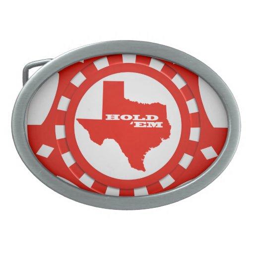 Hold 'Em Poker Chip Belt Buckle (red)