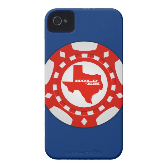 Hold 'Em Poker Chip Blackberry Case (red on blue)