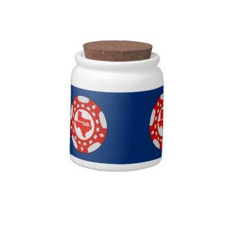 Hold 'Em Poker Chip Candy Jar (red - blue bckgd)