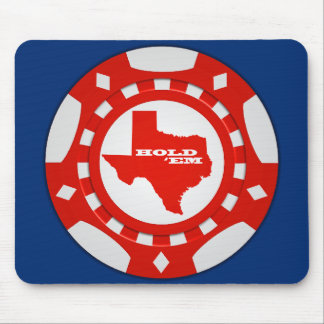 Hold 'Em Poker Chip Mousepad (red - blue bckgd)