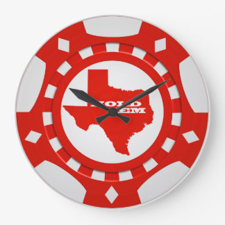Hold ' Em Poker Chip Wall Clock (red)