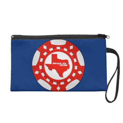 Hold ' Em Poker Chip Wristlet (red - blue bckgd)