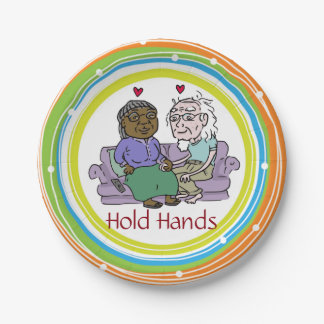 HOLD HANDS paper plates