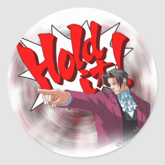 Hold It! Miles Edgeworth Classic Round Sticker