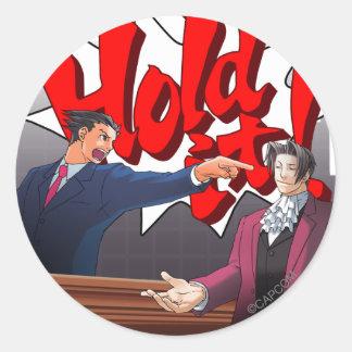 Hold It! Phoenix Wright & Miles Edgeworth Classic Round Sticker
