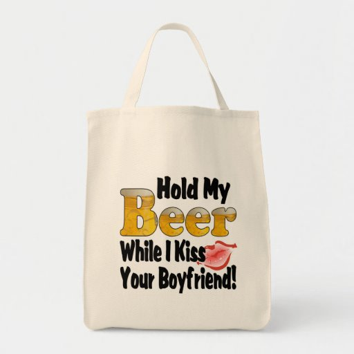 Hold My Beer Boyfriend Lips Canvas Bags