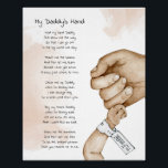 """Hold My Hand Daddy Keepsake Poem Dad Gift Poster<br><div class=""""desc"""">Hold My Hand Daddy Keepsake Poem Dad Gift Poster. Cute peach watercolor painting of father and baby hand in hand. Makes a great fathers day keepsake gift from baby or toddler to dad. Personalize this custom design with your own text or use the poem provided.</div>"""