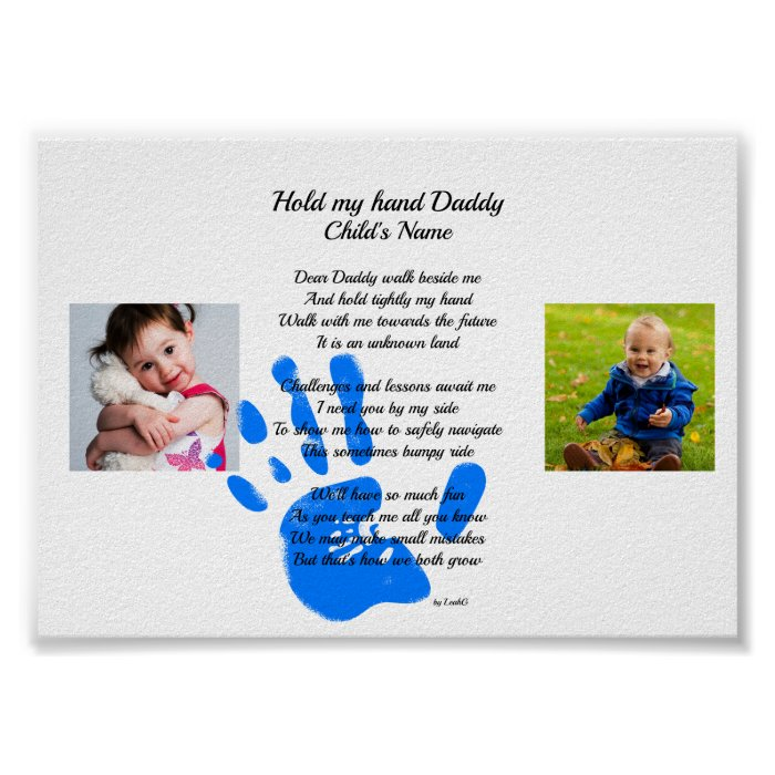 Hold My Hand Daddy Poem From Toddler PHOTO Gift Poster