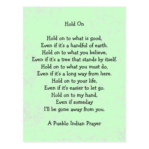 hold on prayer postcard