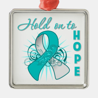 Hold On To Hope - Cervical Cancer Square Metal Christmas Ornament