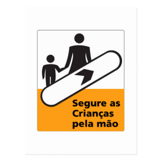 Hold Your Children Sign, Brazil Postcard