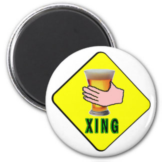 Holding A Beer Crossing 2 Inch Round Magnet