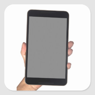 Holding a phablet square sticker