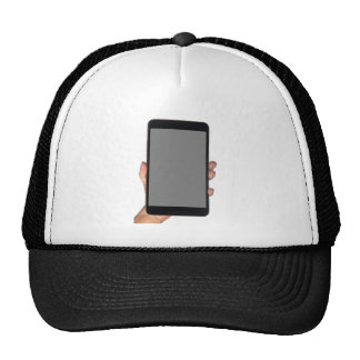 Holding a phablet trucker hat