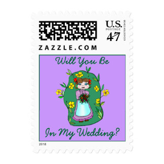 Holding Bouquet Will You Be In My Wedding STAMPS