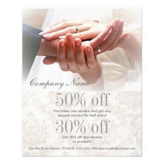 holding hands damask wedding planner business flyer