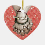 Holding Hands Double-Sided Heart Ceramic Christmas Ornament