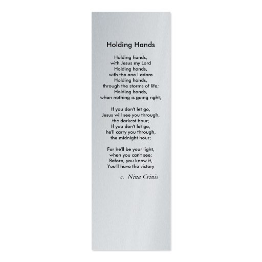 Holding Hands, Double-Sided Mini Business Cards (Pack Of 20)
