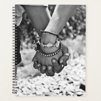 Holding Hands Planner Black White Stronger 2gether