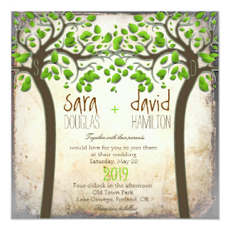 Holding Hands Trees Love Rustic Eco Wedding Card