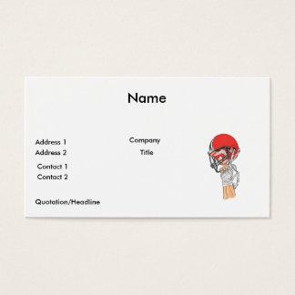 holding helmet high football design business card