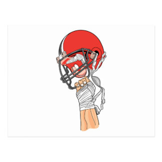 holding helmet high football design postcard