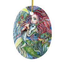 Holding Narwhal Baby - Mermaid Art Ceramic Ornament