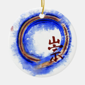 Holding Reverence, Enso Ceramic Ornament