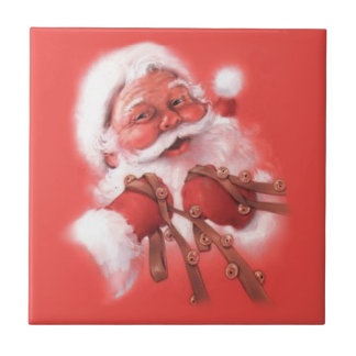 Holding the ReinsVintage Santa Claus Tiles
