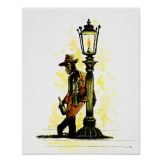 Holding Up The Lamp Post Print