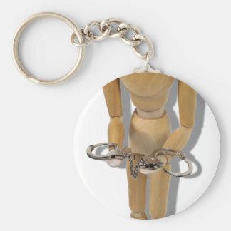 HoldingHandcuffs073110 Basic Round Button Keychain