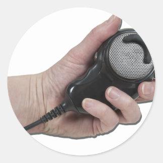 HoldingMicrophone020511 Pegatina Redonda
