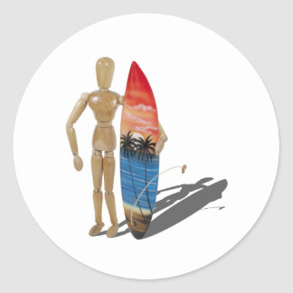 HoldingSurfBoard050111 Classic Round Sticker