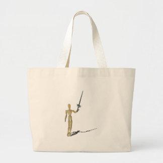 HoldingSwordUpHigh122814.png Large Tote Bag