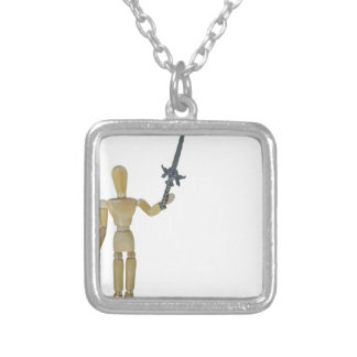 HoldingSwordUpHigh122814.png Square Pendant Necklace