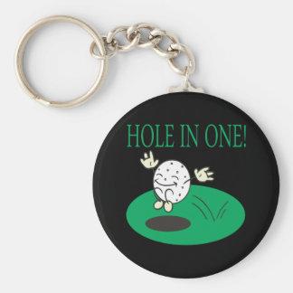 Hole In One Basic Round Button Keychain
