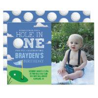 Hole in One Blue Golf Theme Boys First Birthday Invitation
