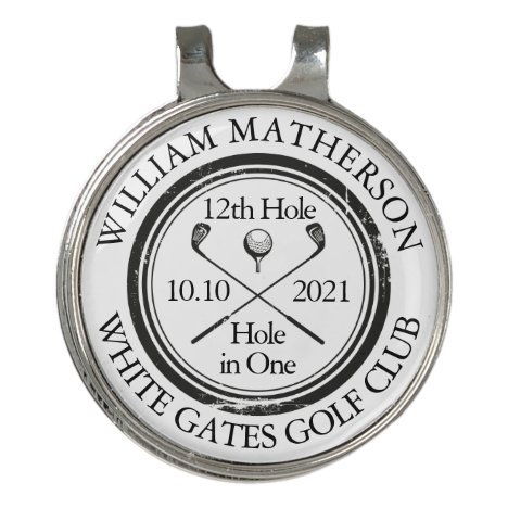 Hole in One Classic Personalised Golf Hat Clip