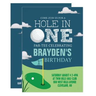 Hole in One Golf Theme Boys First Birthday Invitation