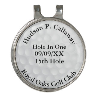 Hole In One Personalized Golf Black and White Golf Hat Clip