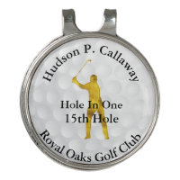 Hole In One Personalized Golf Gold and Black White Golf Hat Clip