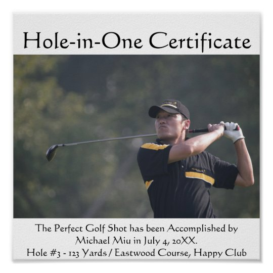 Hole-in-One Turn Your Photo To Poster Certificate