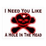 Hole In The Head Anti Valentine Postcard